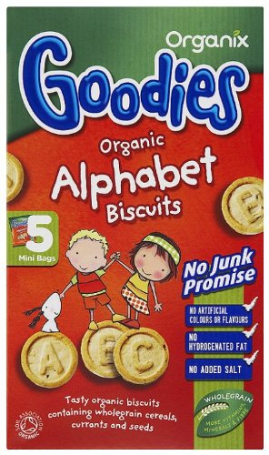 Organix Goodies Organic Alphabet Biscuits from 12+ Months 5 x 25 g (Pack of 6, Total 30 Packets)