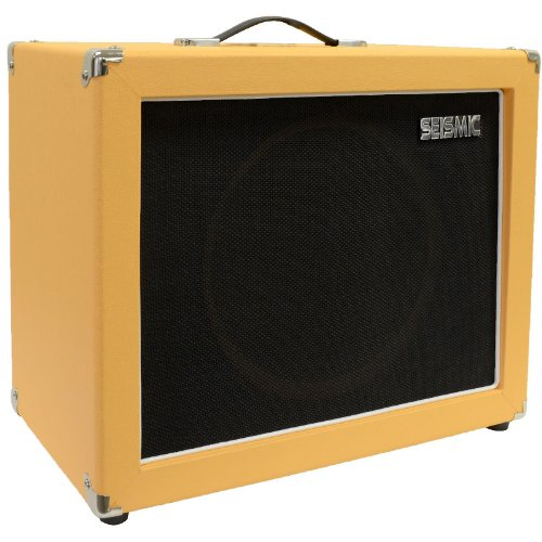 "Seismic Audio - 12"" Guitar Speaker Cabinet Empty - 7 Ply Birch - 1X12 Speakerless Cab - Orange Tolex - Black Cloth Grill - Front Or Rear Loading Options"