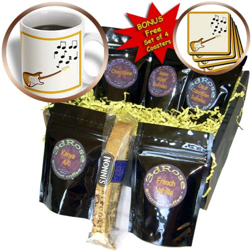 Cgb_23828_1 777Images Designs Graphic Design Music - Honey Gold Sunburst Electric Guitar With Musical Notes - Coffee Gift Baskets - Coffee Gift Basket