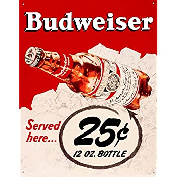 Budweiser 25 Cents Tin Sign 13 x 16in