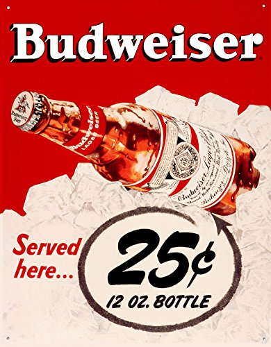 Budweiser 25 Cents Tin Sign 13 x 16in 0