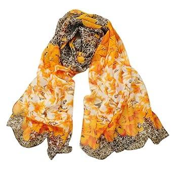 Aubig Lily Flowers Series Ladies Soft Velvet Chiffon Silk Long Shawl Wrap Scarf - Orange
