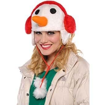 Amazon.com: Snowman Flap Winter Hat Adult Accessory Party