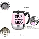 Freehawk® Hot Sale Novelty Automatic Electric Stirring Coffee Mug Double Layer Stainless Steel Self Stirring Auto Coffee Mugs Self Mixing Cup for Morning, Office, Travelling in Pink (450ml/15.2oz)