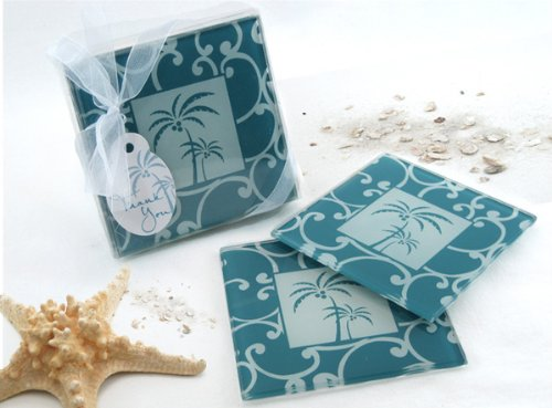 Tropical Breeze Palm Tree Glass Coasters (Set of 4; 12 Pack) - Destination Beach Themed Wedding and Party Keepsake Favor