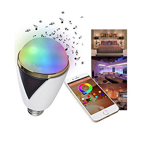 ieGeek Lampadina Smart Senza fili Wireless Bluetooth 5W E27/E26 LED Altoparlante integrato iPhone iPad Android Samsung HTC Motorola Colorazione regolabile tante tonalità [Nuova Versione Bianco Nero]