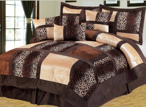7 Pieces Brown Micro Fur Patchwork Leopard Comforter Set Luxury Animal Print Bed-In-A-Bag Set Full Size Bedding front-1002554