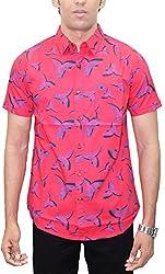 AA' Southbay Men's Red Hawk Print 100% Cotton Half Sleeve Hawaiin Print Beach Wear Casual Shirt