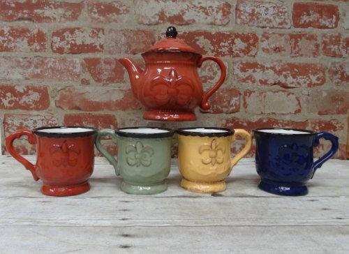 Tuscany Hand Painted Fleur De Lis 5Pcs Tea Set, 82056 By Ack