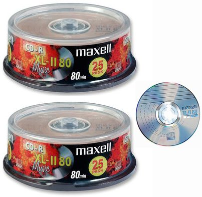 Maxell - CD scrivibili per contenuto audio XL-11 80 Music, spazio vuoto su CD pari a 80 minuti, compatibile con Steepletone Edinburgh, Lancaster, SMC922 e SMC595 + Inovalley Retro 09 e Retro 11 Paris + TEAC LP-R400 e LPR500 Music Centres, 2 confezioni da 25 pezzi, confezione Digital Technology UK Ltd