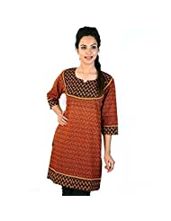 Jaipur RagaJaipuri Designer Print Red-Black Cotton Top Woman Cotton Kurti