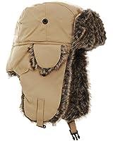 【FLOSO】 あったか 冬ウインター用 防寒 耳あて付き フェークファー 防水 トレーパーハット パイロットキャップ スキー帽子 男性用