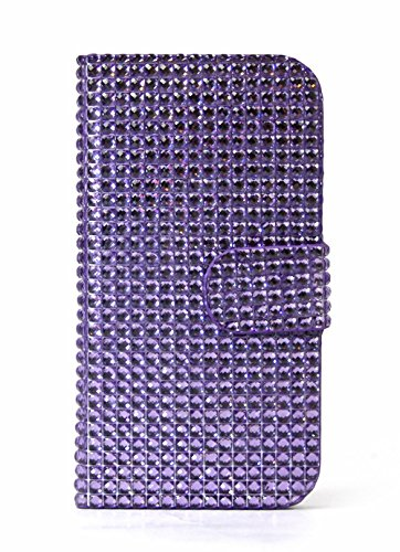 Mylife Mauve Purple Bling - Glamorous Design - Textured Koskin Faux Leather (Card And Id Holder + Magnetic Detachable Closing) Slim Wallet For Iphone 5/5S (5G) 5Th Generation Smartphone By Apple (External Rugged Synthetic Leather With Magnetic Clip + Inte