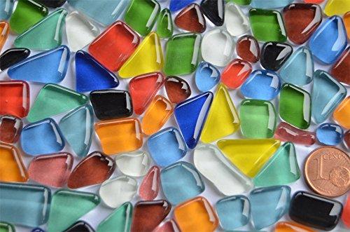 Glas-Mosaiksteine-unregelmig-Soft-Glas-bunt-200g-ca140-160St