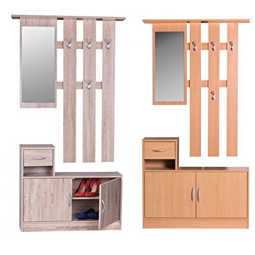 FineBuy-SERO-Garderobe-komplett-zum-aufhngen-Flur-mit-Spiegel-Garderoben-Set-Wandgarderobe-mit-Hut-Ablage-Holz-mit-Garderobenhaken-hngend-mit-Unter-Schrank-platzsparend-90cm-breit-2-teilig-Buche