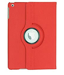 KolorFish iRotation 360 Degree Rotating Leather Flip Case Cover for Apple iPad Air 2 (Red)