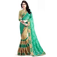 Pragati Fashion Hub Women's Faux Georgette Saree (UJJ.K288C_Beige Green)