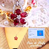 【鑑別書付】 天然ルビー 3ct フラワーペンダント  誕生石 7月 ネックレス さくら 桜