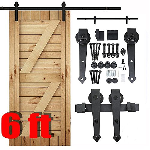 Yaheetech 6 Ft Interior Black Steel Single Sliding Barn Closet Door Hardware Track System Kit Set (French Door Barn Door Hardware compare prices)