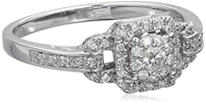 Sterling Silver Cluster Octagon Diamond Ring (1/4 Cttw, H-I Color, I2 Clarity), Size 7