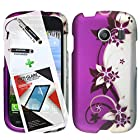 3 in 1 Bundle Samsung Galaxy Ace Style S765C Graphic Design Glossy Finish Rubberized Case - Purple Silver Vines with Free Ultra-Sensitive Stylus Pen and Premium Screen Protector by BeautyCentral TM