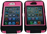 "Iphone 4/4s Body Armor Defender Case Black on Pink + Bonus Free USB Color Charging Cord & ""Save the Ta-tas"""