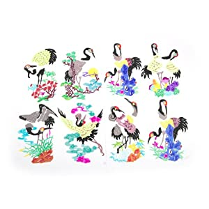 Colorful Crane Character Traditional Art Folk Handmade Chinese Paper Cut