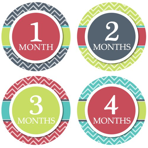Monthly Onesie Stickers - Modern Chevron Theme - Baby Boy Bodysuit Stickers - 1