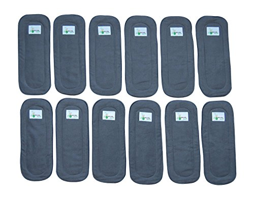 Naturally Natures Cloth Diaper Inserts 5 Layer Charcoal Bamboo Reusable Liners for Cloth Diapers (Pack of 12) (Grey)