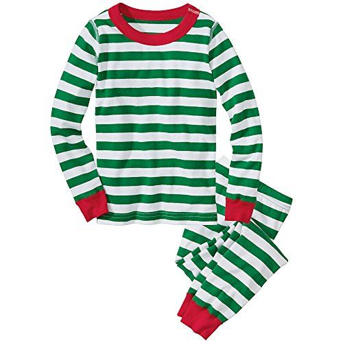 Hanna Andersson Big Boy Long John Pajamas In Organic Cotton, Size 160 (14), Tree Green/White/Rio Red front-690027