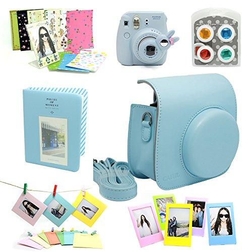 960608a47e135d  Detail shop Fujifilm Instax Mini 8 Instant Camera Accessory Bundles Set  (Included  Blue Mini 8 Vintage Case Bag Blue Hard Cover Instax Mini Book  Album Blue ...