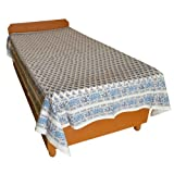 Block Printed Floral Bagru Print Design Cotton Flat Single Bed Sheet - B00GSSOMDE
