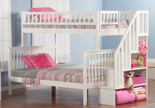 White Bunk Bed Twin Over Full 5048 front