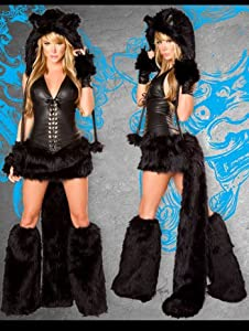 Sexy Faux Fur Black Cat Complete Costume - LARGE