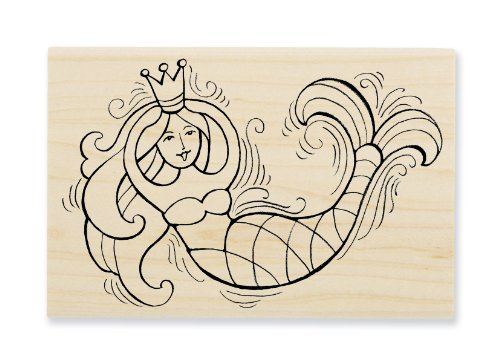 "Stampendous Wooden Handle Rubber Stamp, ""Pen Pattern Mermaid"" - 1"