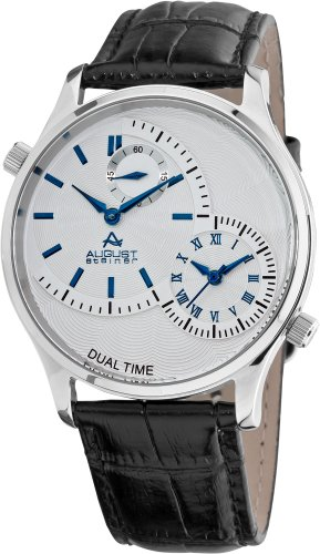 August Steiner Men's Dual Time Quartz Watch with White Dial Analogue Display and Black Leather Strap ASA810BU