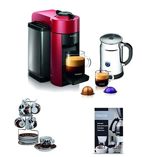 Nespresso Vertuoline Evoluo Deluxe GCC1 (Red) with Aeroccino Plus Milk Frother + Espresso Cup and Saucer On Wire Rack (Set of 6) + Knox Handheld Milk Frother (Nespresso Vertuoline Frother compare prices)