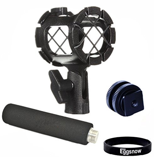 Eggsnow Camera Microphone Shockmount Holder Clip + Hot Shoe Mount + Foam Handle Grip for AKG D230, Senheisser ME66, Rode NTG-2,NTG-1,Audio-Technica AT-875R etc (Mic Hot Shoe Mount compare prices)