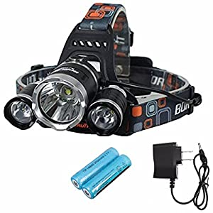 OUTERDO 5000Lumen Headlamp 4 Mode Head Lamp Headlight 3 CREE Chips XML T6+2R5 Led Headlamp +2 Pack of 18650 Rechargeable Battery+AC Charger For Outdoor Camping Biking Hunting Fishing