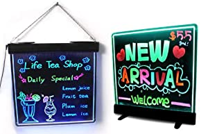 Neon LED Message Writing Menu Board w/ Stand - Writeable & Erasable