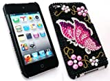 FLASH SUPERSTORE APPLE IPOD TOUCH 4 ( 4TH GEN ) DIAMANTE HARD BACK COVER DIAMANTE BLACK BUTTERFLY