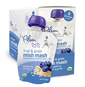 Plum Organics Tots Fruit and Grain Mish Mash, Blueberry, Oats and Quinoa, 3.17-Ounce Pouches (Pack of 12)