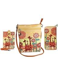 Combo Offer Of Designer Sling Bag + Wallet + Mobile Sling Bag Orange Printed Stylish Purses For Girls, Womens,...