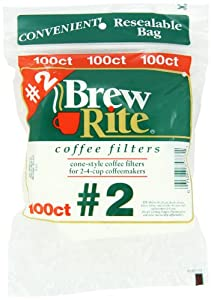 Brew Rite #2 Cone Coffee Filters, White Paper, 100-Count Bags (Pack of 8) by Brew Rite