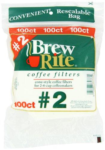 Brew Rite #2 Cone Coffee Filters, White Paper, 100-Count Bags (Pack of 8) (Cone Coffee Filters White compare prices)