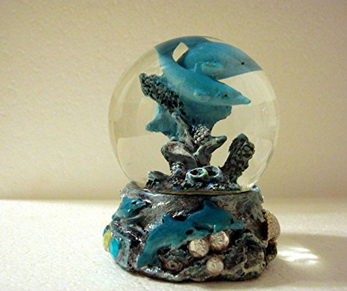 65Mm Resin 2 Blue Dolphins In A Globe Snow/Water Globe With Coral, Seashells And Rhinestone Accents - Dolphin Lovers Gift Idea, Nautical Or Beach House Decor, Inexpensive Child'S Gift