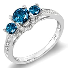 buy 1.00 Carat (Ctw) 14K White Gold Round White And Blue Diamond 3 Stone Ladies Bridal Engagement Ring 1 Ct (Size 7)