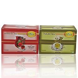 GTEE Hibiscus Tea Bags & Tulsi Tea Bags (25 Tea bags X 2PACKS)