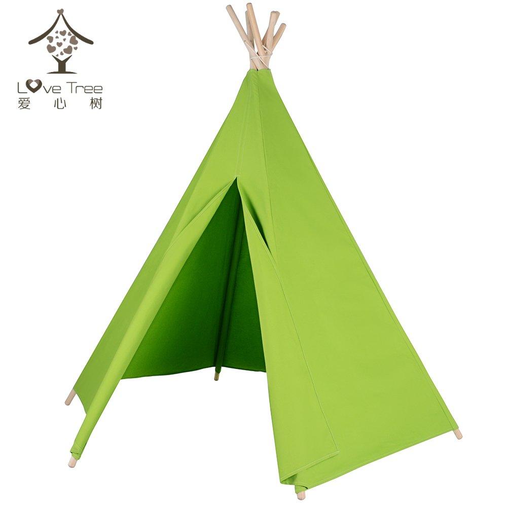 love tree Spielzelt for Kinder, Tipi - Hexagon Green No Window Indianerzelt Teepee - Vormontiert
