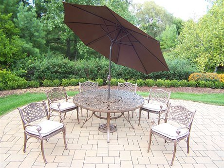oakland living mississippi 9 piece dining set with 60 inch round